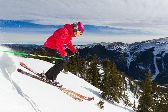 Advanced female skier at Taos Ski Valley, New Mexico