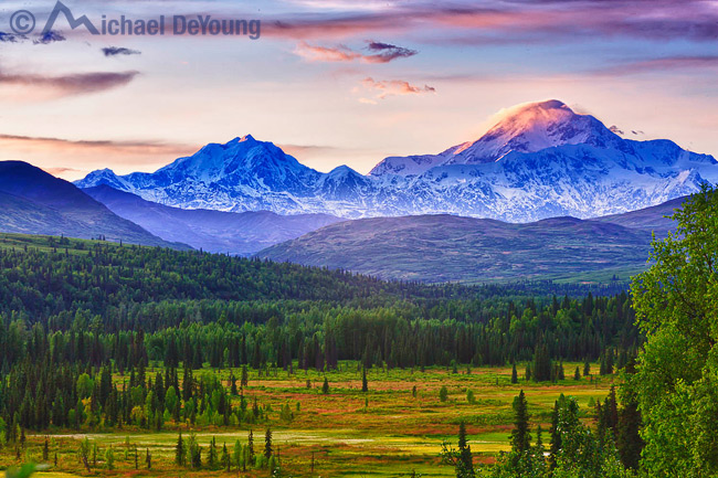 Alaska Landscape. View of the south side of Mt. McKinley, 20,320' rising above the Chulitna River Valley, viewed from Petersville Road.