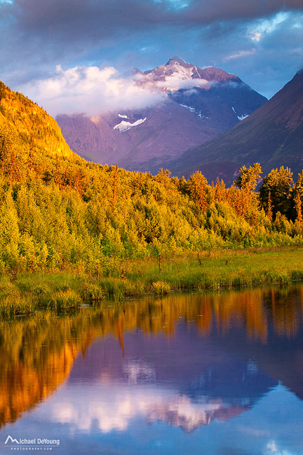 Alaska landscape. View of Polar Bear Peak rising near 6000 feet above the North Fork of Eagle River, Chugach State Park, near Anchorage
