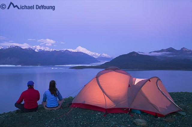 Wilderness camp at Alsek Lake, Glacier Bay National Park, Alaska.