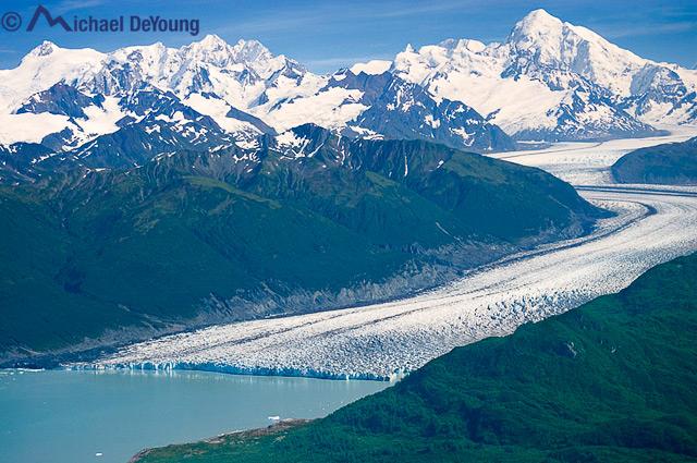 Aerial view of Glacier in Glacier Bay National Park, Alask