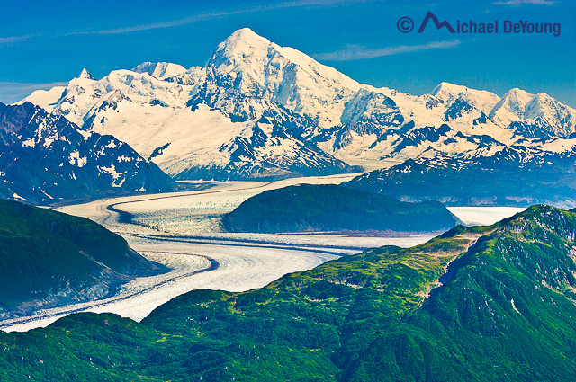 Aerial view of Glacier in Glacier Bay National Park, Alaska