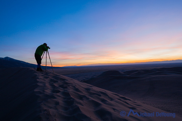Photographing sunset on High Dune, Geat Sand Dunes National Park, Colorado
