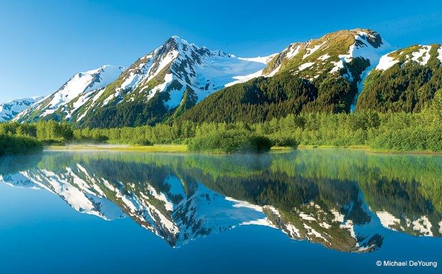 Explorer Glacier from Moose Pond in the Portage Valley, Chugach National Forest, Alaska.