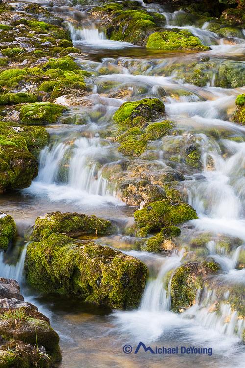 cascading stream, Alta Via 1, NaturPark Fanes-Senes, Dolomites, Italy
