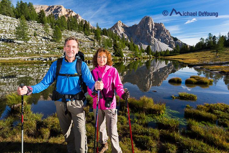 hikers along Alta Via 1, Dolomites, Italy