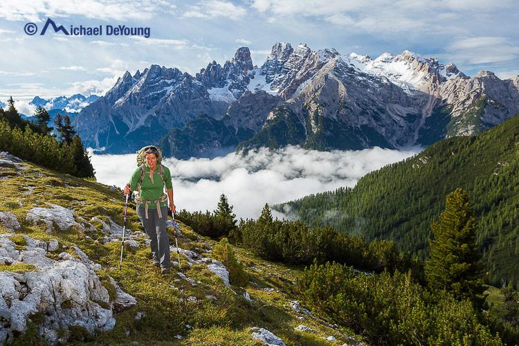 hiker on Alta Via 1, Dolomites