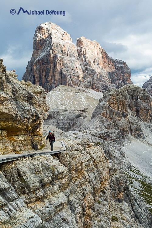 hiker on Tre Cime di Lavaredo circuit, Dolomites