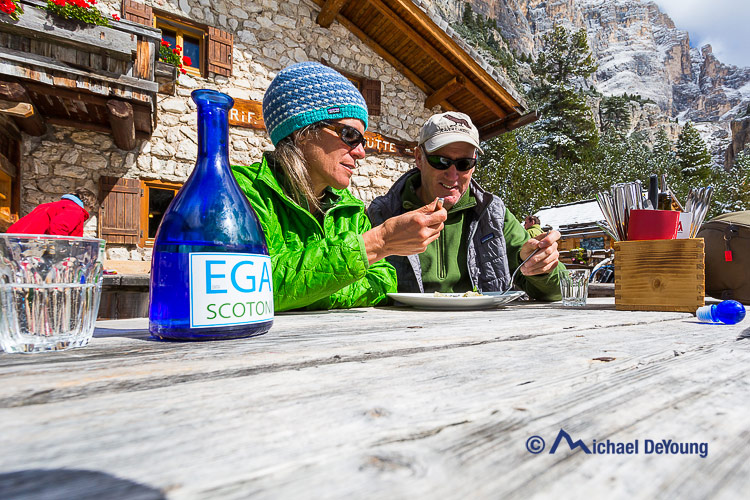 lunch at a rifugio in the Dolomites