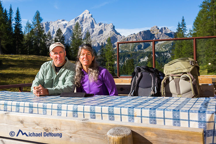 hikers at a rifugio, Dolomites