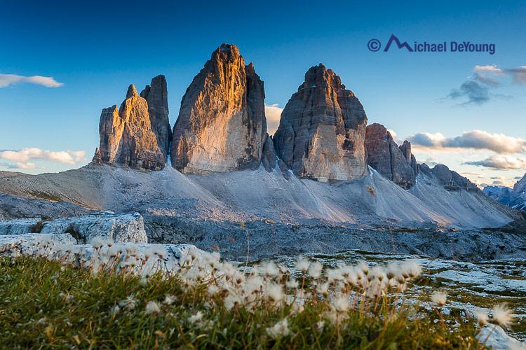 The Tre Cime/Drei Zinnen formation at sunset, Dolomites, Italyy