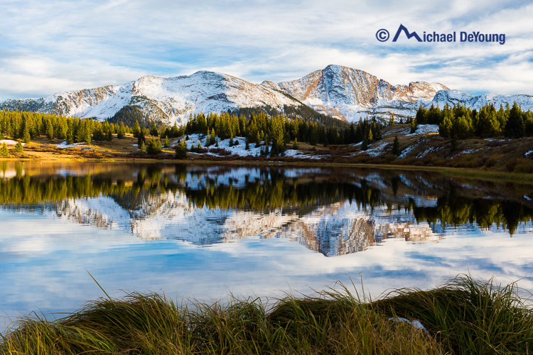 Little Molas Lake with recent snow on surrounding peaks, San Juan Mountains, Colorado on October 2, 2013.