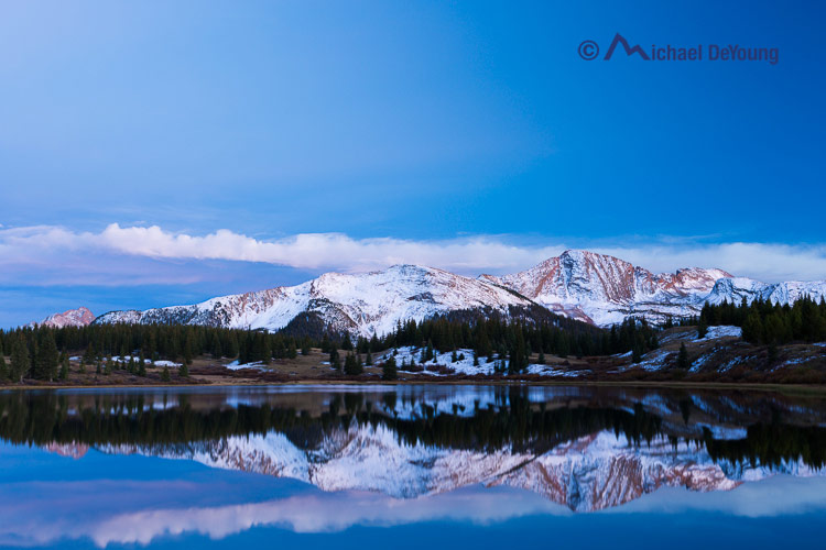 Little Molas Lake with recent snow on surrounding peaks, San Juan Mountains, Colorado on October 2, 2013, into the Blue Hour about 25 minutes after sunset.