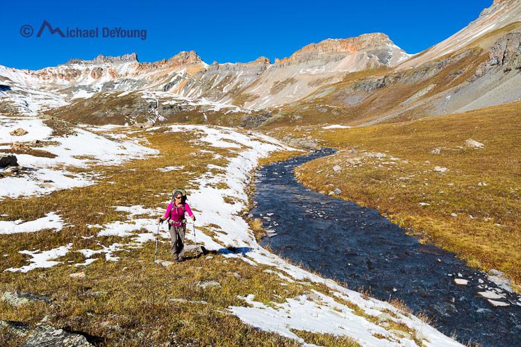 September hiking/backpacking at Ice Lake, Ice Lake Basin, San Juan Mountains near Silverton, Colorado
