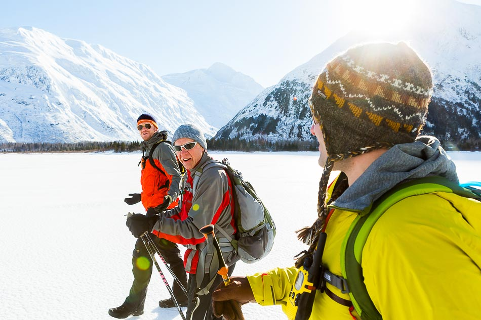 New Mexico Photographers Alaska Winter Lifestyle Photos - Father and sons hike across Portage Lake