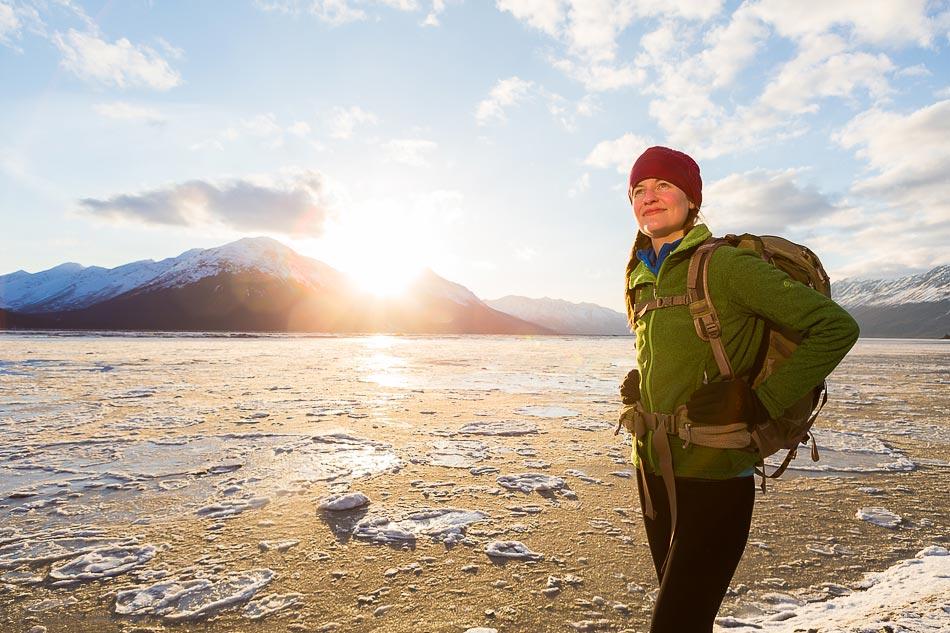New Mexico Photographers Alaska Winter Lifestyle Photos - female hiker enjoying sunset along Turnagain Arm