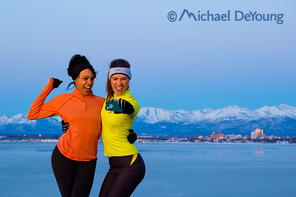 New Mexico Photographers Alaska Winter Lifestyle Photos -  trail runners selfie with Anchorage background