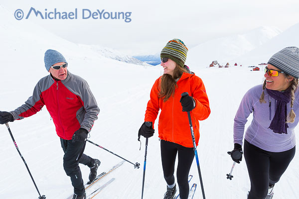 New Mexico Photographers Alaska Winter Lifestyle Photos - Family cross country skiing at Hatcher Pass