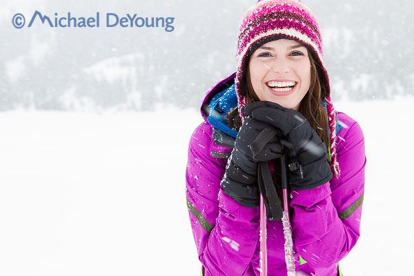 New Mexico Photographers Alaska Winter Lifestyle Photos - snowshoer in snowfall at Turnagain Pass