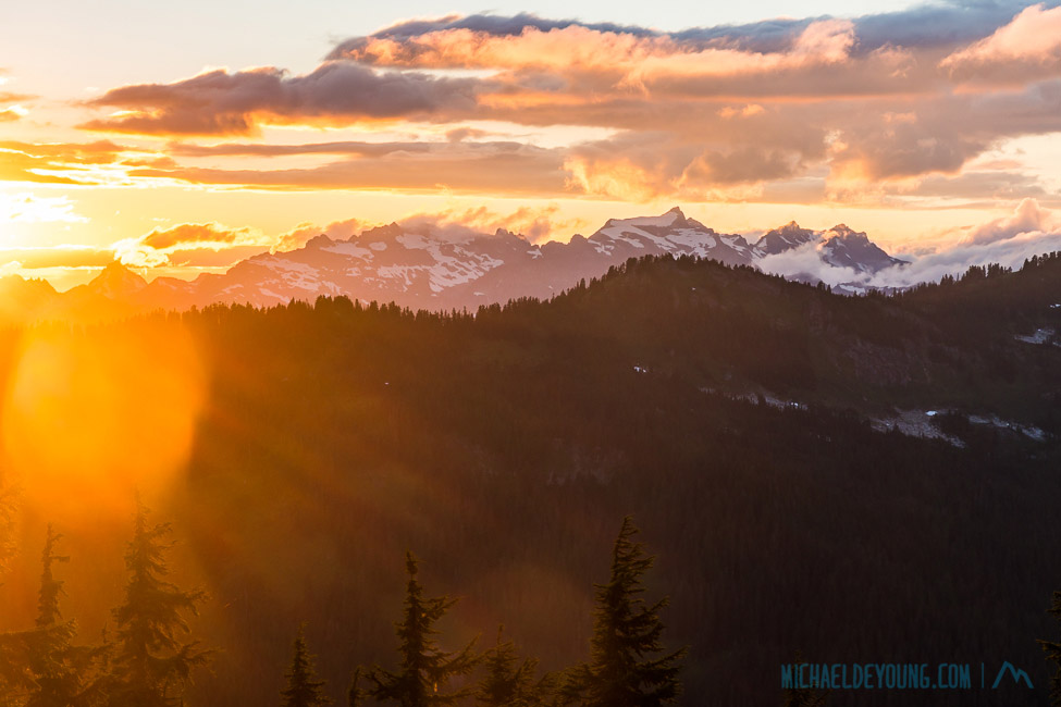Sunset over the Glacier Peak Wilderness, viewed from Grizzly Peak