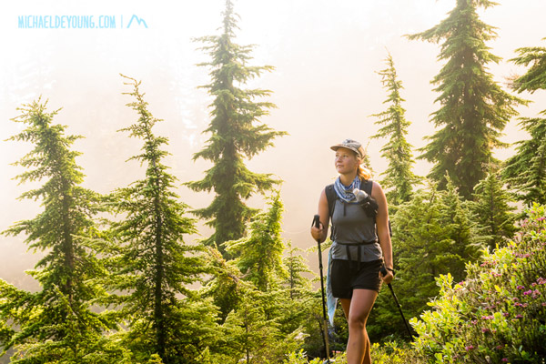 "NOBO thru hiker, ""Hummingbird"", walking in the fog approaching the Glacier Peak Wilderness"