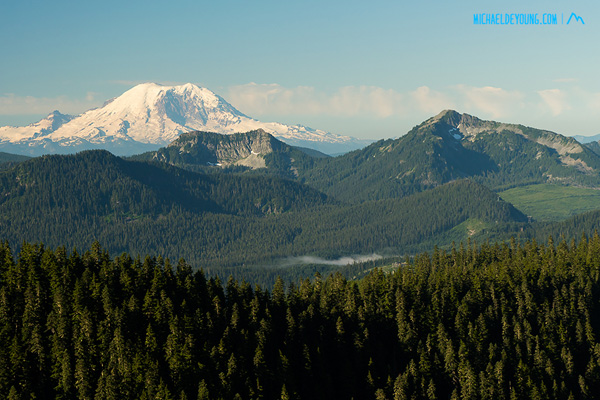 View of Mt. Ranier from one of the high points in the trail