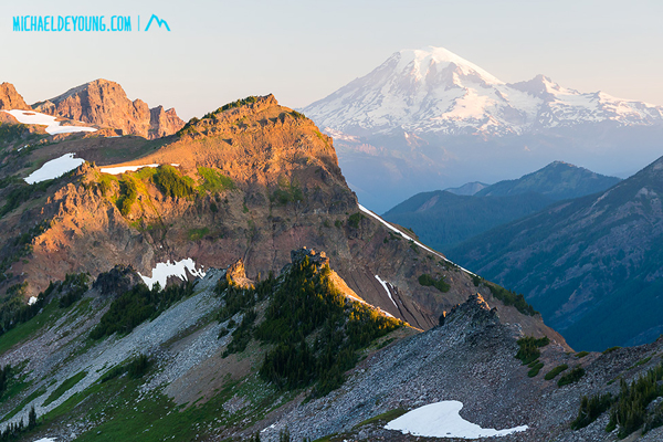 PCT in Goat Rocks Wilderness, Washington.  Sunrise and Mt. Rainier from camp at 6800' just south of Knife Edge