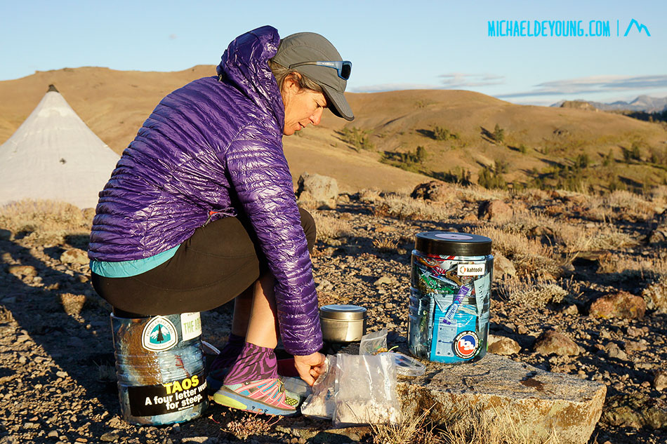 Dinner near sunset our first night on the trail in the Sierra.  We camped too close to Carson Pass and woke up to brutally cold winds