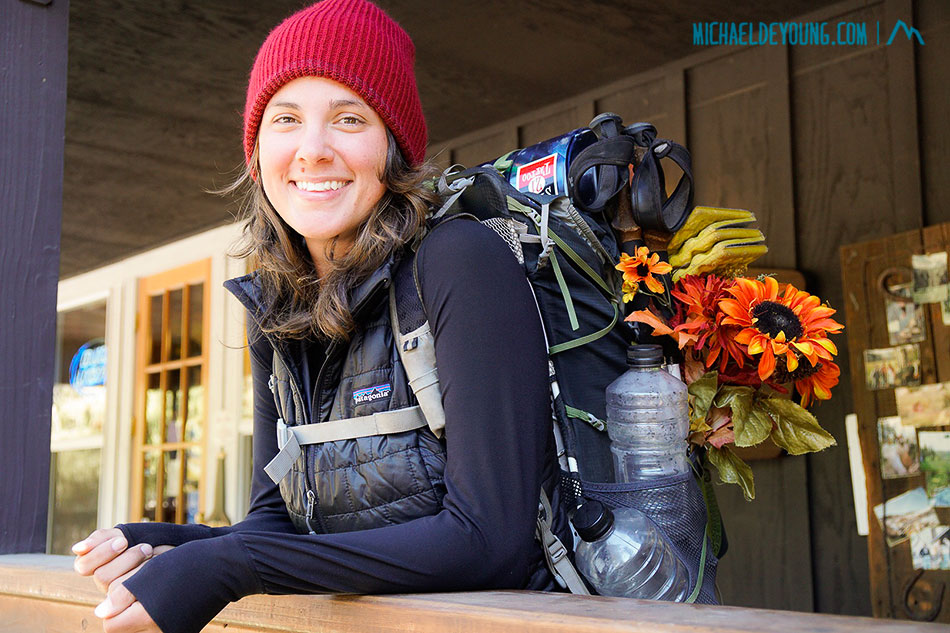 """SOBO Spicerack at Kennedy Meadows Resort. She was given a """"bouquet"""" of flowers to which she is carrying to the southern monument in Campo, CA."""
