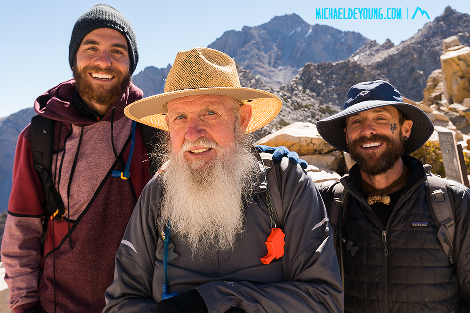 3 generations of hikers on Kearsarge Pass.  We met these gents as we were getting back on the trail from our resupply at Independence