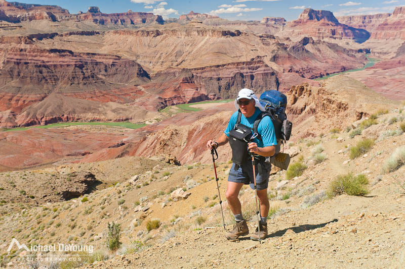 Man backpacking on the Tanner Trail on the south rim of the Grand Canyon with Think Tank Digital holster pack