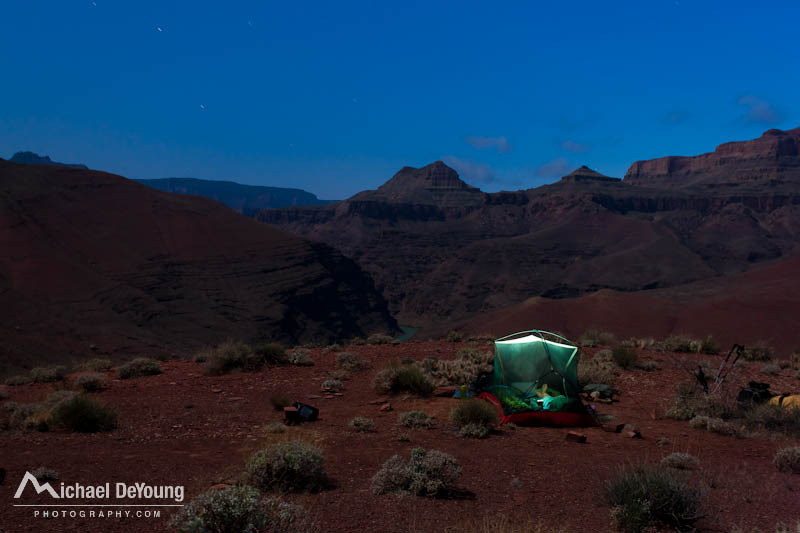 Moonlit tent and camp along the Escalante Route of the Grand Canyon above Unkar Rapids on the Colorado River