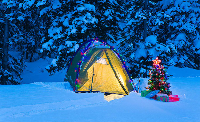 Backcountry Christmas Holiday lit tent in Wyoming