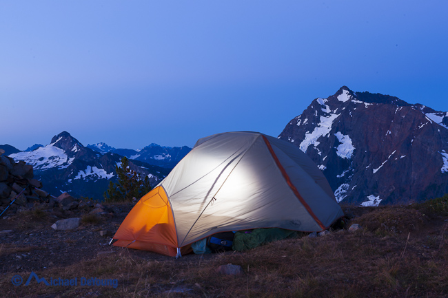Image of Big Agnes backpacking tent at dawn on Devil's Dome, Pasayten Wilderness, North Cascades, Washington
