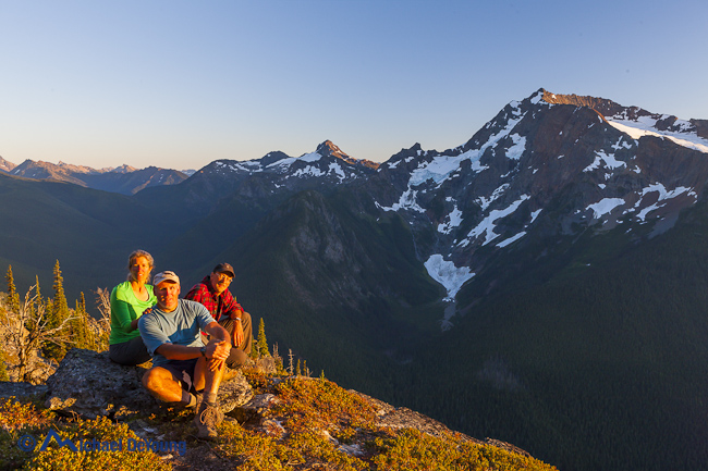 Image of group of 3 backpackers along Devil's Ridge Trail, Pasayten Wilderness, Washington - Michael_DeYoung_MD120908VWA_HB175
