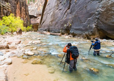 Photographing in the Virgin River Narrows, Zion National Park, Utah