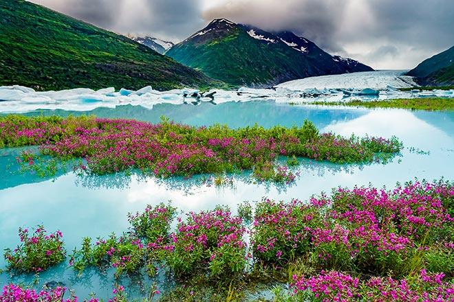 River beauty along the shores of Spencer Glacier - Alaska