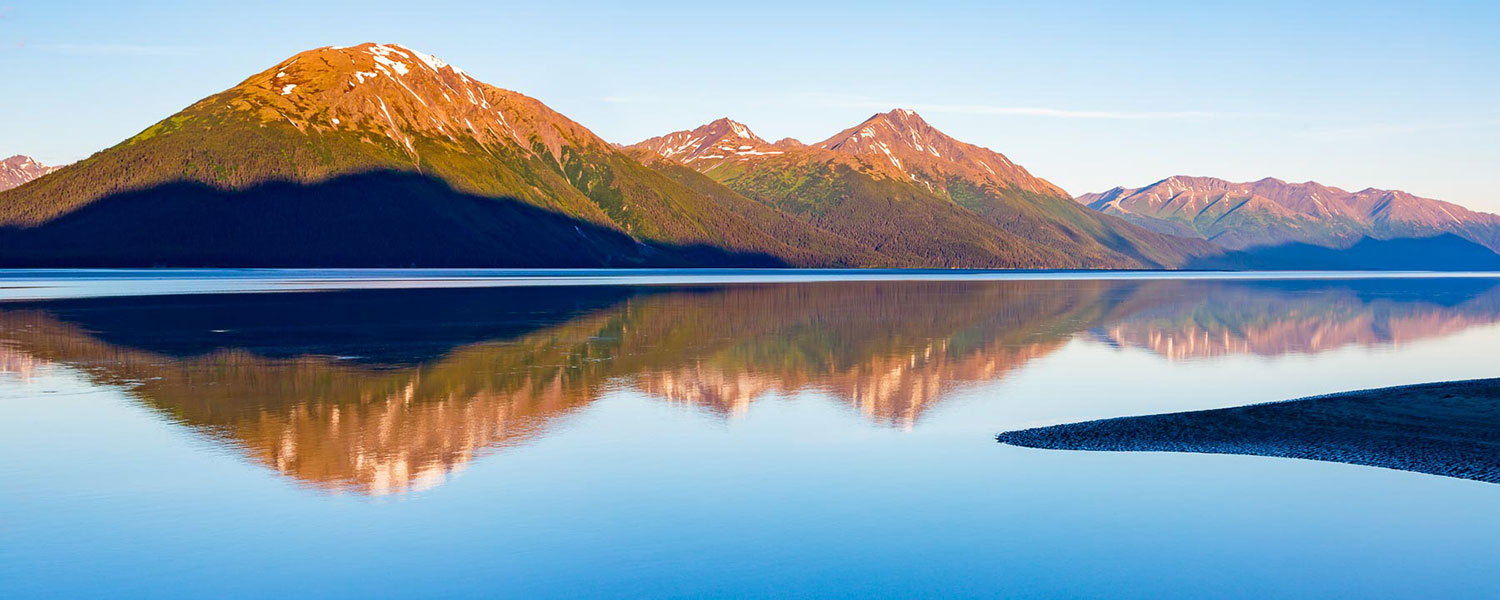 Image of mountain reflection scene along Turnagain Arm, Alaska